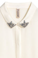 Shirt with sparkly stones - White - Ladies | H&M 3