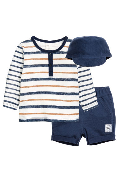 3-piece jersey set - Dark blue -  | H&M CA 1