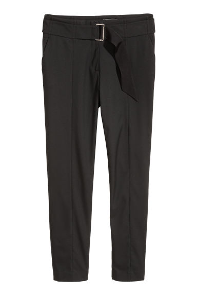 Trousers with a belt - Black - Ladies | H&M