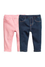 2-pack denim leggings - Dark denim blue/Light pink - Kids | H&M 1