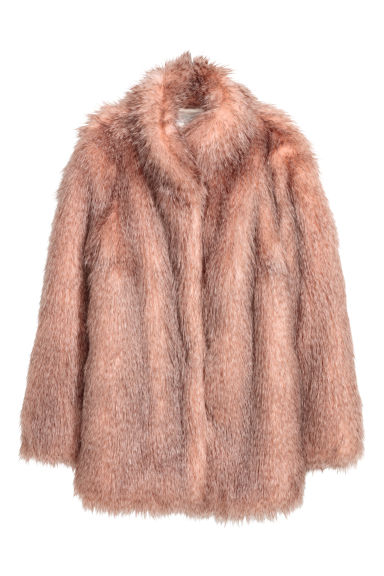 Short faux fur coat - Powder pink/Grey - Ladies | H&M IE