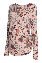 MAMA Long-sleeved jersey top - Powder pink/Floral - Ladies | H&M 1