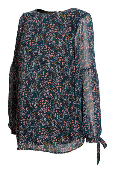 MAMA Patterned chiffon blouse - Dark blue/Floral - Ladies | H&M 1