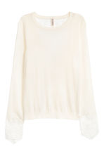 Jumper with lace details - Natural white - Ladies | H&M 2