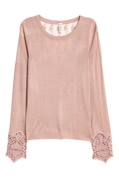 Jumper with lace details - Old rose -  | H&M GB