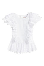 Blouse with broderie anglaise - White -  | H&M GB 2