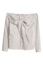Off-the-shoulder blouse - White/Striped -  | H&M CN 2