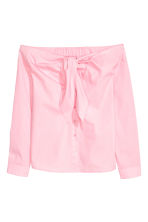 Off-the-shoulder blouse - Light pink - Ladies | H&M CN 2