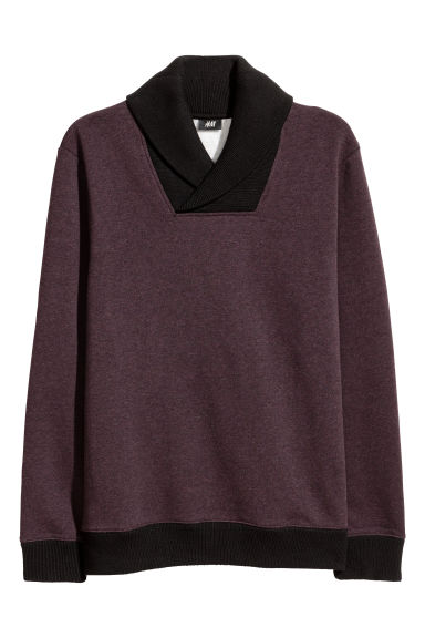 Shawl-collar top - Burgundy marl - Men | H&M