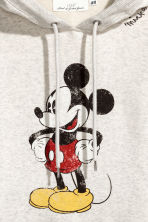 Printed hooded top - Grey/Mickey Mouse - Ladies | H&M 3