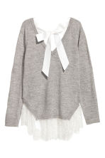 Jumper with lace trims - Light grey - Ladies | H&M 3