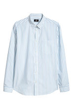 Cotton shirt Regular fit - White/Light blue striped - Men | H&M 2