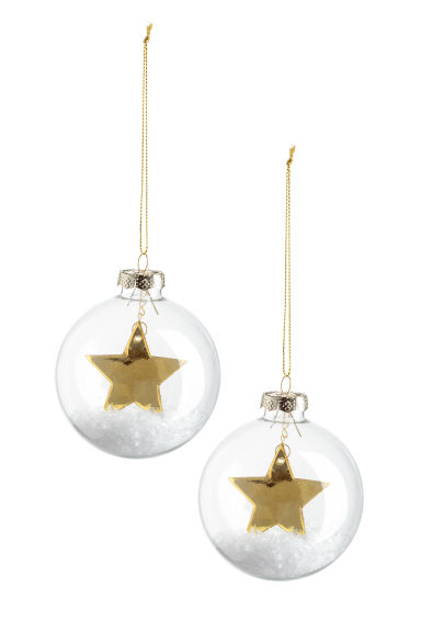 2-pack Christmas tree baubles - Clear glass/Gold-coloured - Home All | H&M IE