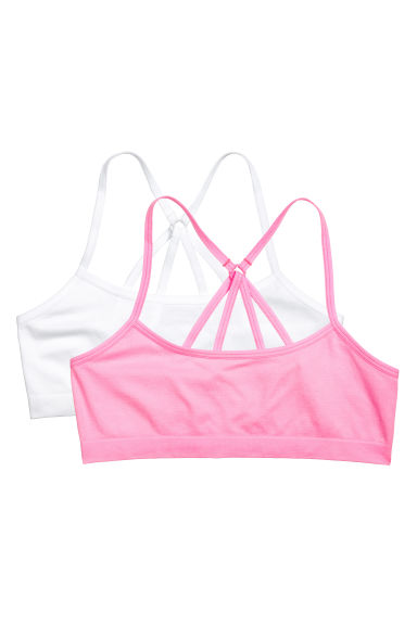 2-pack crop tops - Neon pink - Kids | H&M 1
