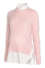 MAMA Jumper with a collar - Light pink/White - Ladies | H&M CN 2
