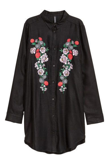 Embroidered viscose shirt - Black/Floral - Ladies | H&M IE