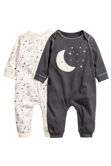 2-pack jersey pyjama suits - Dark grey/Moon - Kids | H&M 1