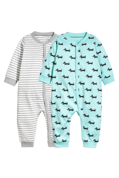 2-pack jersey pyjama suits - Grey/White striped - Kids | H&M 1