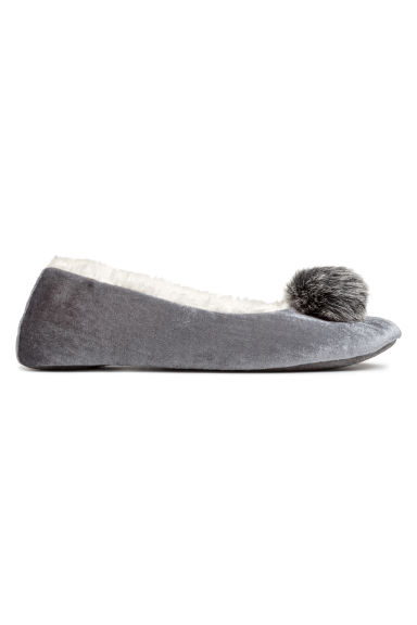 Soft ballet shoe slippers - Grey/Pompom - Ladies | H&M