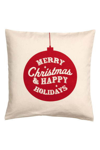 Christmas-print cushion cover - Natural white/Red - Home All | H&M GB
