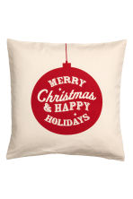 Christmas-print cushion cover - Natural white/Red - Home All | H&M IE 1