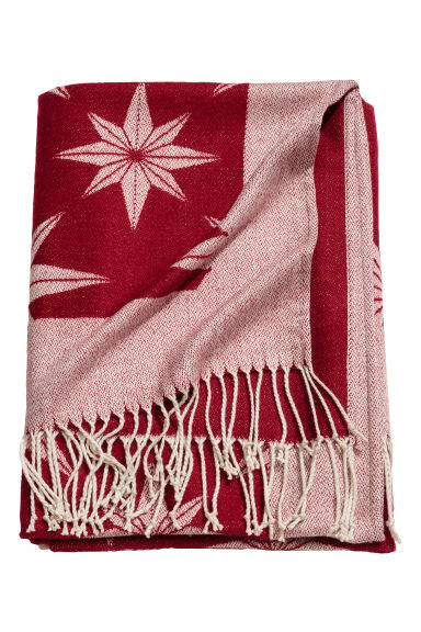 Christmas-motif blanket - Dark red/Star pattern - Home All | H&M CN 1