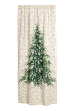 Patterned curtain length - Natural white/Fir tree - Home All | H&M CN 1