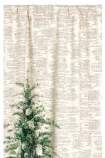 Patterned curtain length - Natural white/Fir tree - Home All | H&M CN 2