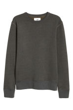 Silk-blend sweatshirt - Dark blue/Green marl - Men | H&M 2