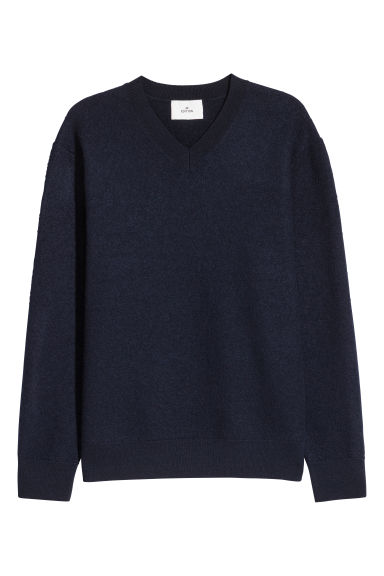 V-neck boiled wool jumper - Dark blue -  | H&M