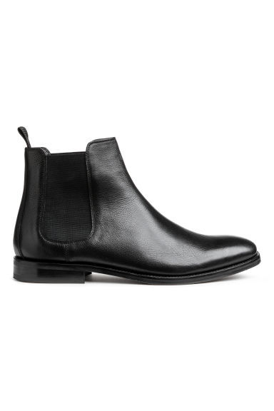 Grained leather Chelsea boots - Black - Men | H&M GB