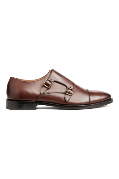 Leather monkstraps - Dark brown - Men | H&M CN