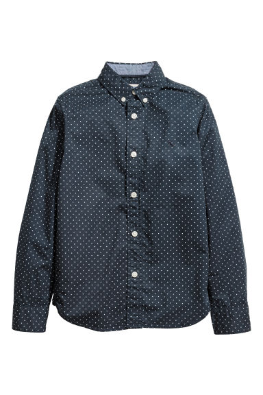 Camicia in cotone - Blu scuro/pois -  | H&M IT