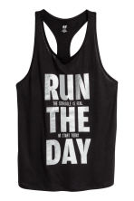 Sports top - Black/Text print - Ladies | H&M CA 2