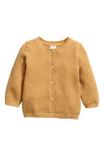 Textured-knit cotton cardigan - Mustard yellow -  | H&M 1