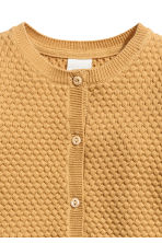 Textured-knit cotton cardigan - Mustard yellow -  | H&M 2