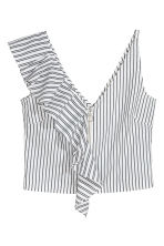 Short flounced top - White/Striped - Ladies | H&M 2
