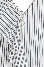 Short flounced top - White/Striped - Ladies | H&M CA 3