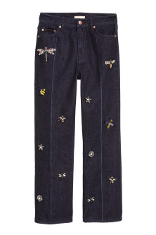Jeans with Beaded Appliqués