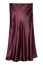 Calf-length satin skirt - Burgundy - Ladies | H&M GB 2