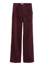 Wide corduroy trousers - Burgundy - Ladies | H&M IE 2