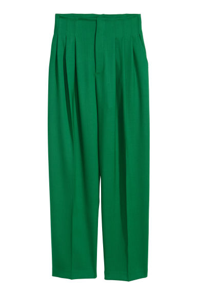 Pantaloni ampi in misto lana - Verde - DONNA | H&M IT