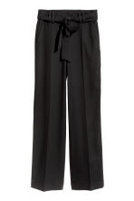 Wide trousers with a tie belt - Black - Ladies | H&M GB 2