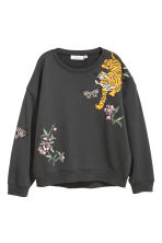 Sweater met applicaties - Donkergrijs - DAMES | H&M NL 2