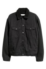 Pile-lined denim jacket - Black - Men | H&M 2