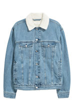 Pile-lined denim jacket - Light denim blue - Men | H&M GB 2