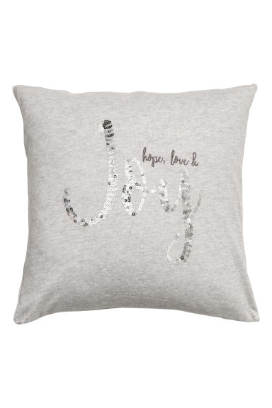 Sequined cushion cover - Light grey/Silver-coloured -  | H&M CN