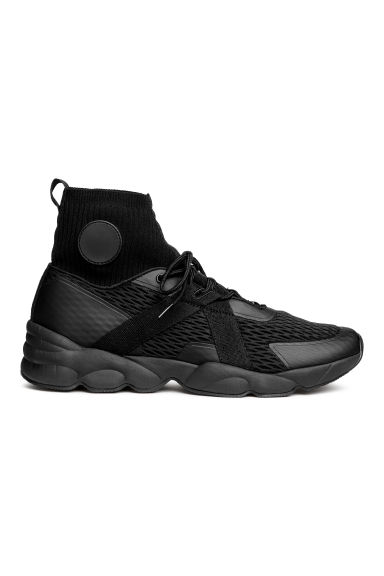 Hi-tops with a knitted shaft - Black - Men | H&M