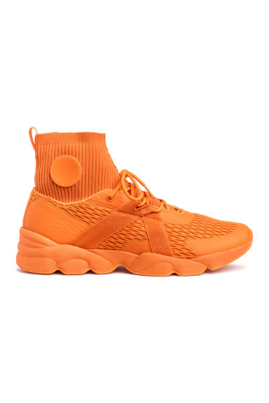 Sneakers med stickat skaft - Orange - HERR | H&M FI