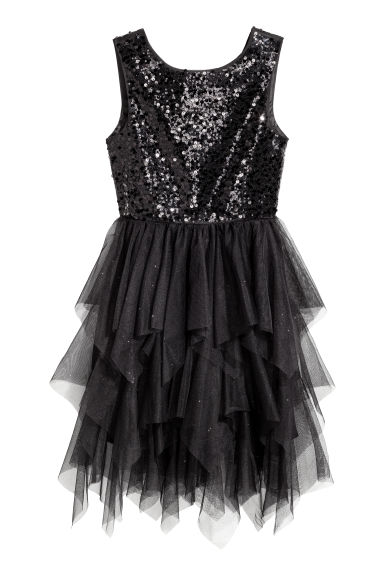 Sequin-embroidered tulle dress - Black/Glittery -  | H&M